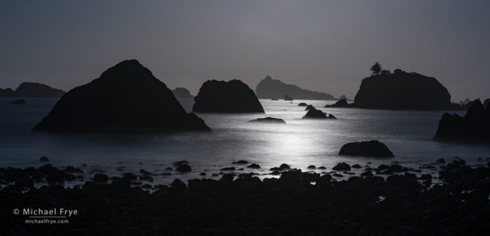 Sea stacks, late afternoon, northern California coast, USA