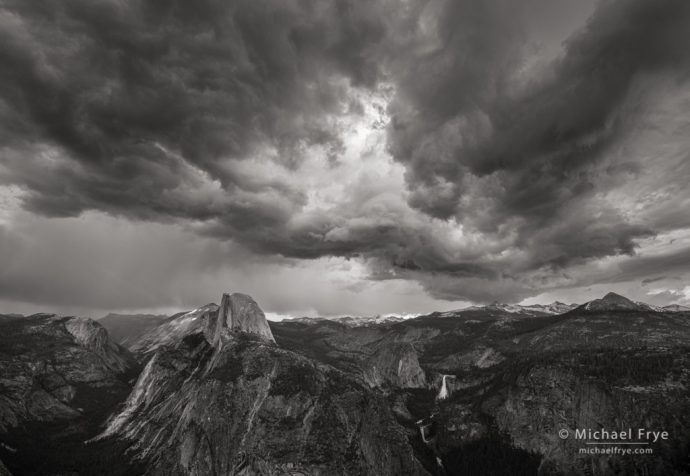 Storm clouds over Half Dome and Nevada Fall from Glacier Point, Yosemite NP, CA, USA