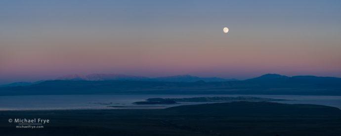 Moon rising over Mono Lake, CA, USA