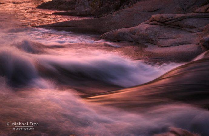Sunset glow on the Tuolumne River, Yosemite NP, CA, USA
