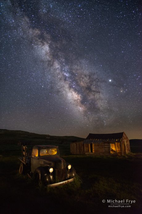 Old truck and shed underneath the Milky Way, Bodie SHP, CA, USA