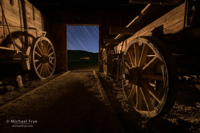 Wagons and star trails, Bodie SHP, CA, USA