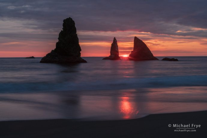 Sunset along the Oregon coast, USA