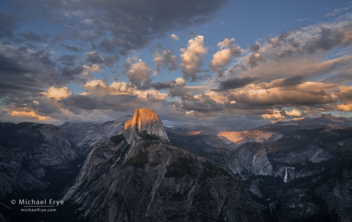 Half Dome and Nevada Fall at sunset from Glacier Point, Yosemite NP, CA, USA