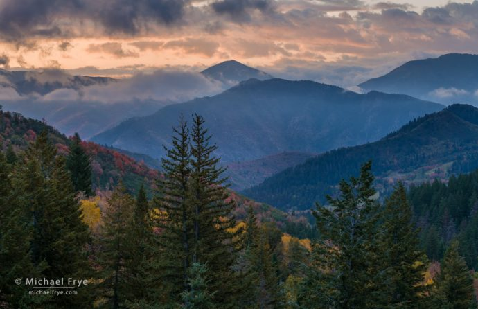 Autumn sunrise in the Wasatch Mountains, UT, USA