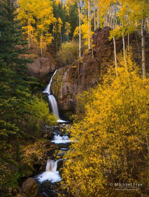Autumn waterfall, Colorado, USA
