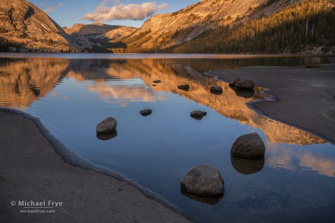 Sunset reflections, Tenaya Lake, Yosemite NP, CA, USA
