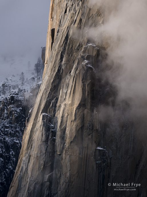 Cliffs, mist, and snow, Yosemite NP, CA, USA