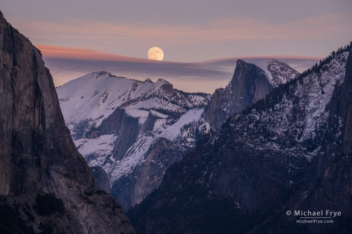 Moon rising above Half Dome and Cloud's Rest, Yosemite NP, CA, USA