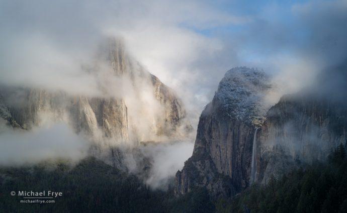 Bridalveil Fall and El Capitan, sunrise, Yosemite NP, CA, USA