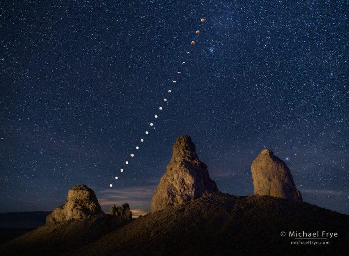 2. Lunar eclipse sequence, Trona Pinnacles, California, January 20, 2019