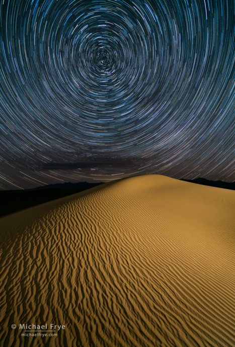 15. Sand dune and star trails, Death Valley NP, California