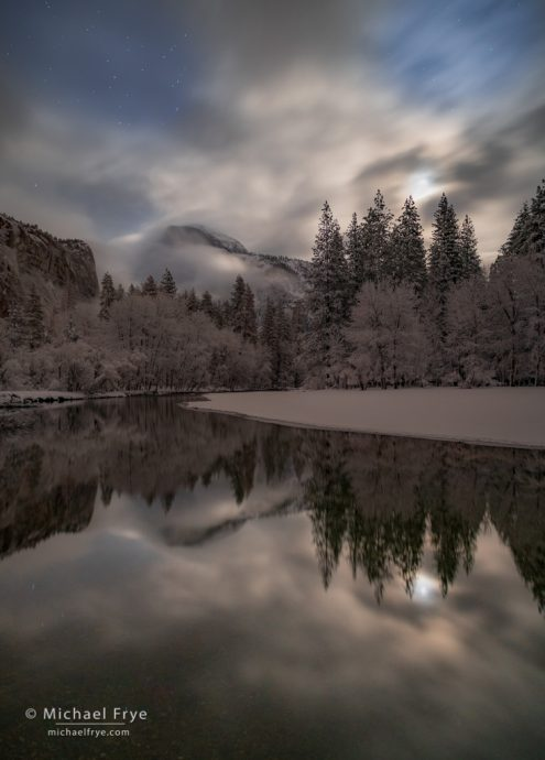 Half Dome and the Merced River by moonlight, Yosemite NP, CA, USA