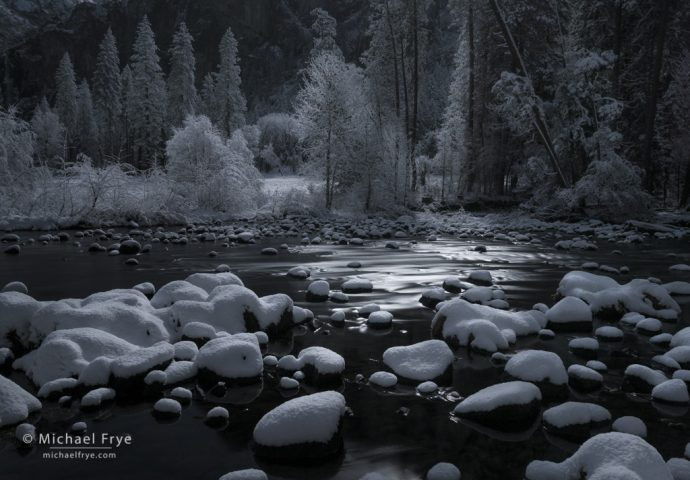 Moonlit night along the Merced River, Yosemite NP, CA, USA