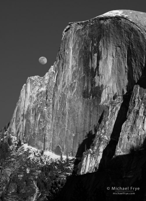 Moon rising next to Half Dome, Yosemite NP, CA, USA