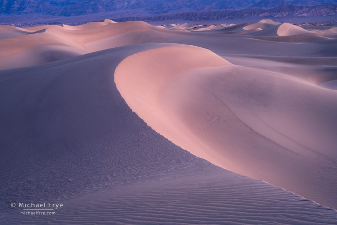 Sand dunes in predawn light, Death Valley NP, CA, USA