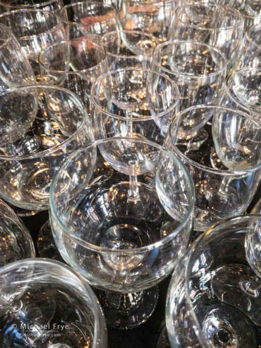 Wine glasses at a Merced restaurant
