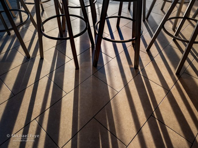 Barstools and shadows at a Rubio's in Bakersfield, CA, USA