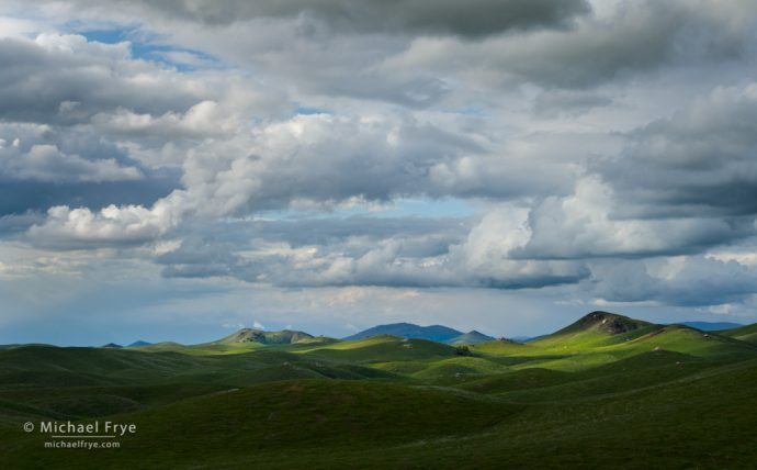 Clouds and rolling hills, Sierra Nevada, CA, USA