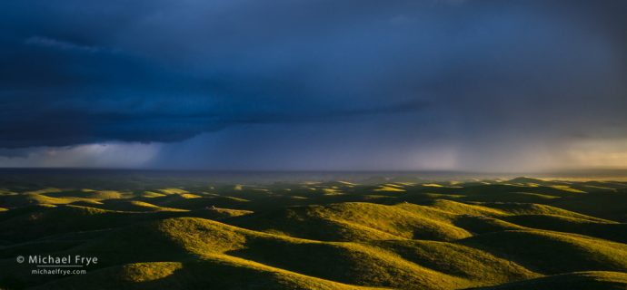 Thunderstorm and Sierra Nevada foothills, CA, USA