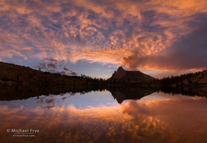 Sunset over an alpine lake, Yosemite NP, CA, USA
