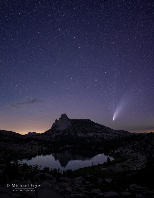 The Big Dipper and Comet NEOWISE over an alpine lake, Yosemite NP, CA, USA
