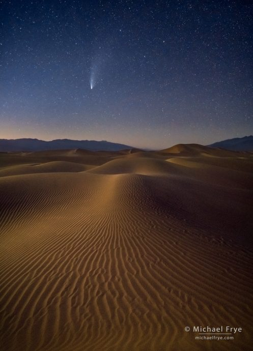 Comet NEOWISE over moonlit sand dunes, Death Vallay NP, CA, USA