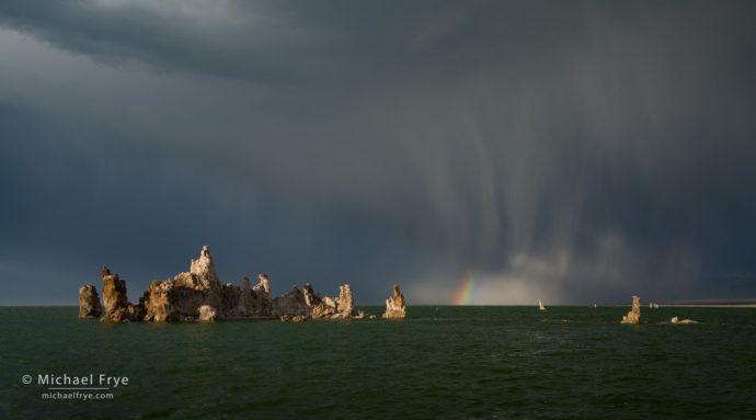 Rainbow and storm clouds, Mono Lake, CA, USA