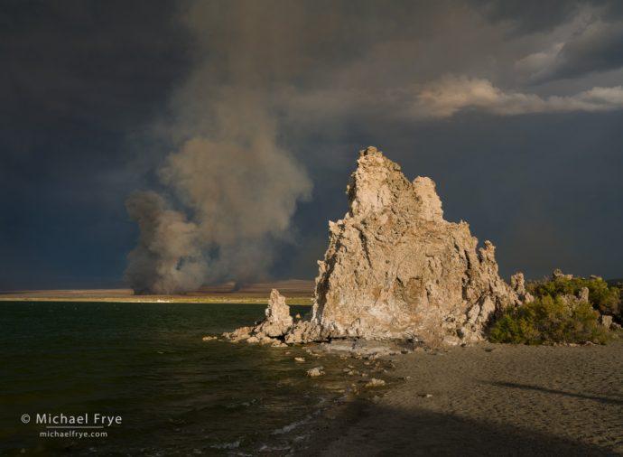 Tufa and wildfire, Mono Lake, CA, USA