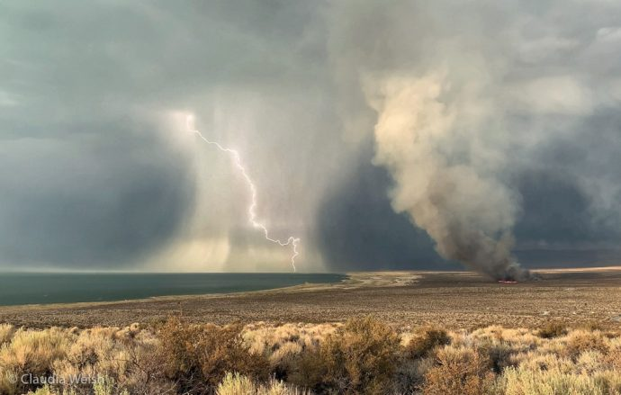 Lightning and smoke from the Beach Fire, Mono Lake, by Claudia Welsh