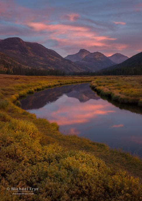 Mountains and creek at sunset, northern Utah, USA