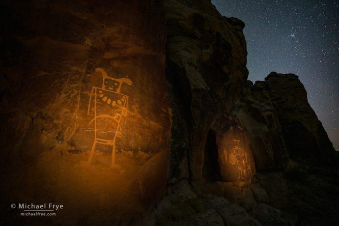 Fremont petroglyphs at night, Utah, USA