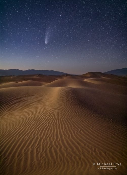 Comet NEOWISE over moonlit sand dunes, Death Valley NP, CA, USA