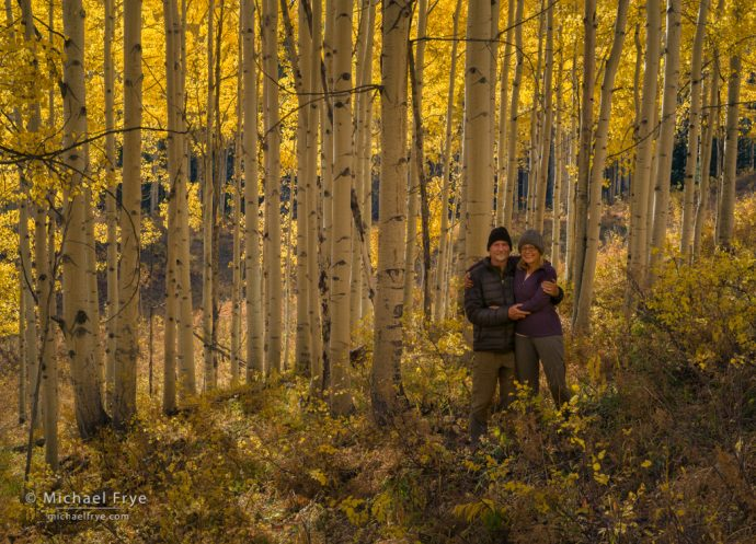 Claudia and Michael among the aspens, Colorado, USA