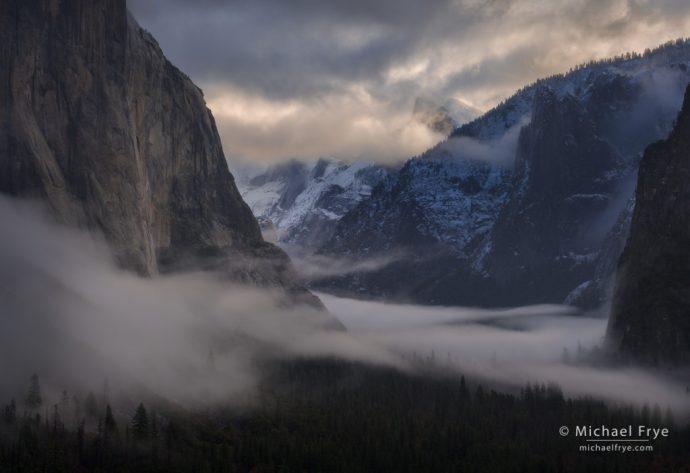 Half Dome and misty Yosemite Valley, Yosemite NP, CA, USA