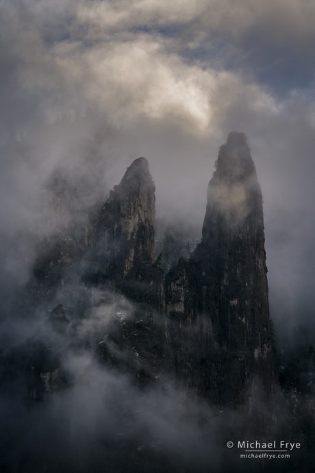 Mist, clouds, and Cathedral Spires, Yosemite NP, CA, USA