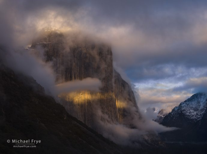 El Capitan at sunset during a clearing storm, Yosemite NP, CA, USA