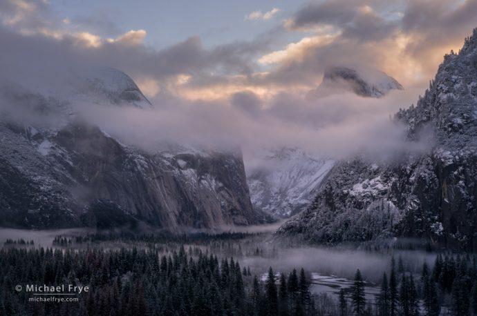 Half Dome, North Dome, and Yosemite Valley at sunrise, Yosemite NP, CA, USA