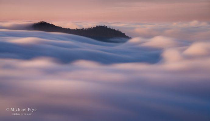 Cascading fog, Sierra Nevada foothills, CA, USA