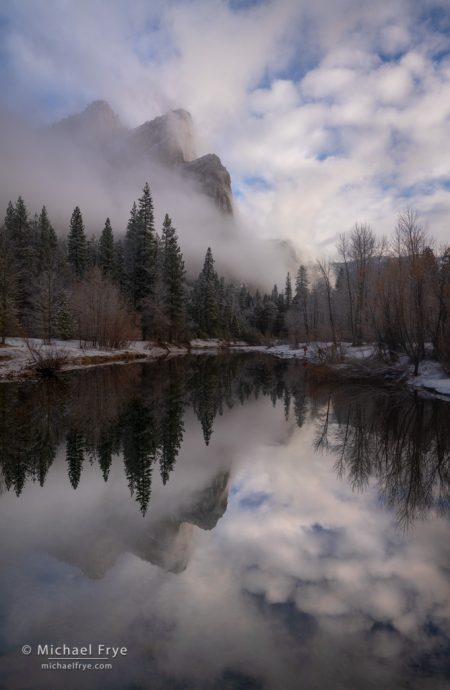 Mist, clouds, and the Three Brothers, Yosemite NP, CA, USA