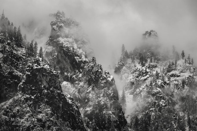 Trees, crags, and mist, Yosemite NP, CA, USA