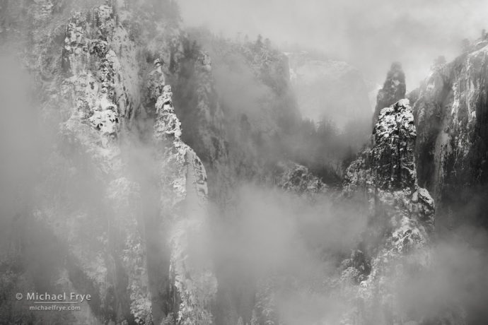 Snow, mist, and Cathedral Spires, Yosemite NP, CA, USA