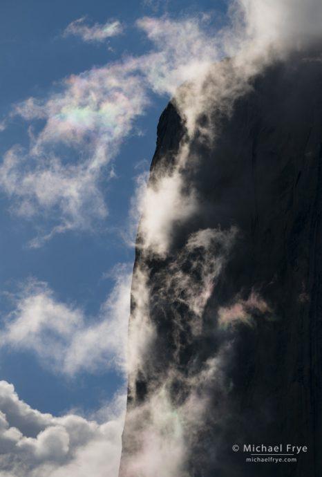Clouds, mist, and halo effects around El Capitan, Yosemite NP, CA, USA