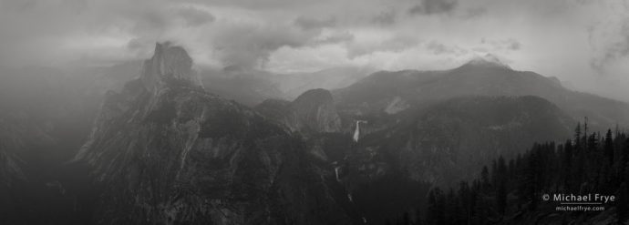 Half Dome, Nevada Fall, and Mt. Starr King in the rain from Glacier Point, Yosemite NP, CA, USA