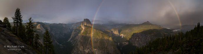 Rainbow panorama from Glacier Point, Yosemite NP, CA, USA