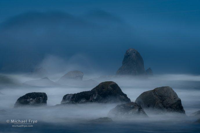 Waves, fog, and sea stacks, northern California coast, USA