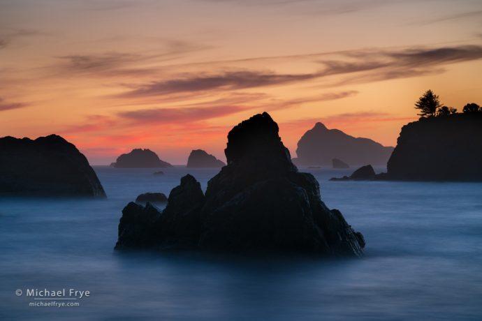 Sea stacks at sunset, Pacific Coast, California, USA