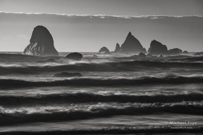 Waves and sea stacks, northern California coast, USA