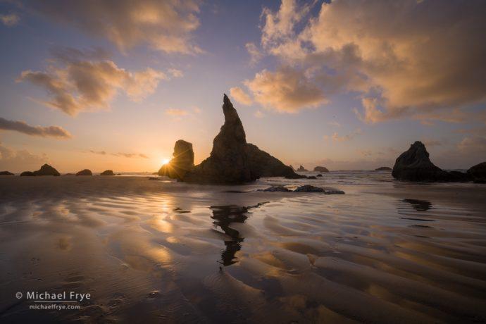 Sea stacks and reflections at sunset, Oregon Coast, USA