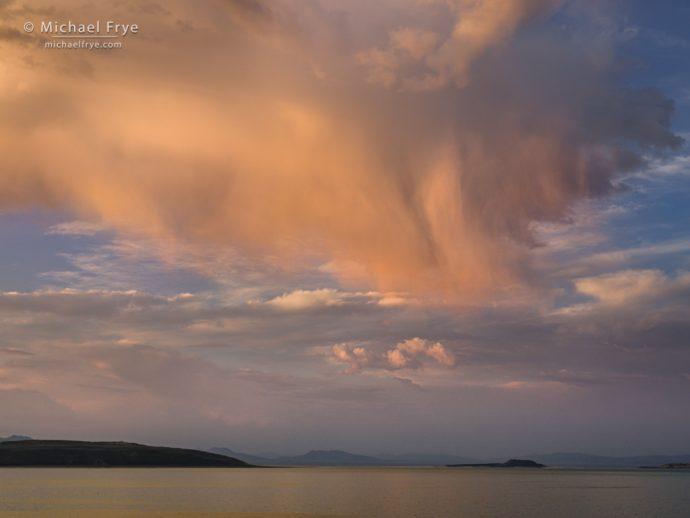Rain cloud over Mono Lake, CA, USA